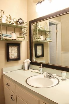 70′s Bath makeover -- love the mirror frame -- made by Mirror Mate (not cheap) ~~