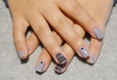 purple dust gel overlay with funcky black nail stamping