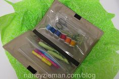 A placemat and purchased plastic pencil bags make a great notions or makeup case. Sew it in 1-hour.