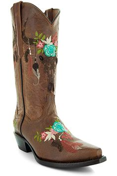 Amazon.com | Soto Boots Women's Jasmine Floral Square Toe Cowgirl Boots M50043 (Tan, 5.5 B(M) US) | Mid-Calf Pull On Boots, Jeans And Boots, Girl Cowboy Boots, Warm Winter Boots, Snow Boots Women, Bearpaw Boots, Tan Leather, Fashion Boots, Calves