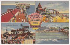 Old Orchard Beach Maine, vintage souvenir postcard