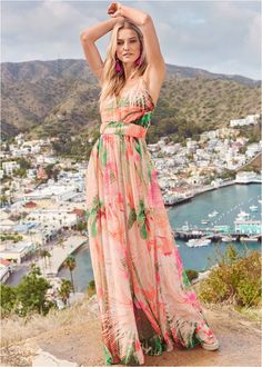 Tropical Print Gown,Push Up Bra Buy 2 For $40,Beaded Heels,Oversized Tassel Earrings Formal Dress Shops, Formal Gowns, Sexy Outfits, Printed Gowns, Venus Swimwear, Latest Fashion For Women, Womens Fashion, Mix And Match Bikini, Midi Shirt Dress
