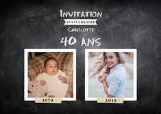 Invitation Anniversaire Avant-Après 40 ans Plus 50th Birthday, Birthday Invitations, Diy And Crafts, Awesome, Frame, Communion, Golf, Scrapbooking, Club