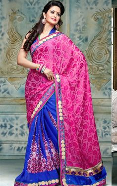 Picture of Beauteous Blue and Pink Designer Wedding Saree