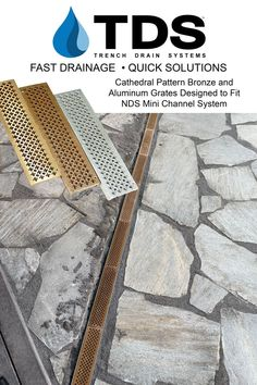 """TDS manufacures bronze and aluminum grates to fit the popular 3"""" NDS Mini Channel drainage system, ideal for pools and patios. Order online at DrainageKits.com or call 610-882-3630. #pools #patio #diy #landscape #minichannel #bronzegrates #aluminumgrates #homedecor #trenchdrainsystems #trenchdrain Trench Drain Systems, Drainage Solutions, Channel, Bronze, Landscape, Mini, Pools, Popular, Design"""