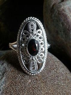 Handmade garnet silver filigree ring Haute Wired Jewelry