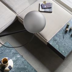 The iconic Studio Lamp series, designed by Laura Bilde, and the Globe Light series, designed by Emil Thorup, are part of the permanent lighting. Home Modern, Modern Living, Danish Furniture, Furniture Design, Studio Lamp, Bauhaus, Globe Chandelier, Grey Glass, Modular Sofa