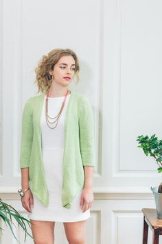 NEW Rowan S/S 2015 booklet for new yarn: Cotton Lustre, a 55% cotton 35% modal 10% linen tape yarn.  Kaneshon by Sarah Hatton.