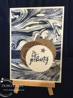 Stampin Up! Card, Navy, Soft Suede, Crumb Cake, Marbled
