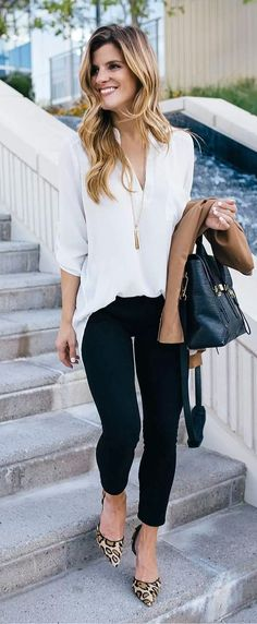Ivory blouse, black skinny jeans and leopard print heels - fall outfit professional wear. pretty spring work outfits for women Elegant Summer Outfits, Spring Work Outfits, Casual Work Outfits, Work Casual, Casual Fall, Winter Outfits, Summer Business Casual Outfits, Dress Casual, Casual Office Attire