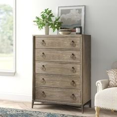 Polaris Large Framed Wall Mirror & Reviews | Joss & Main Chest Of Drawers Decor, 5 Drawer Chest, 5 Drawer Dresser, Oak Bedroom, Room Decor Bedroom, Bedroom Ideas, Bedroom Stuff, Master Bedrooms, Bedroom Inspo
