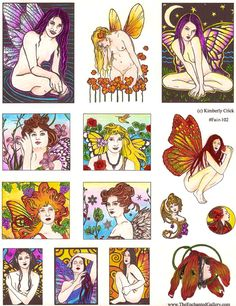 Fairy fantasy art fairies fey dryad art nouveau seasons women rubber stamps. Unmounted Stamp set from www.TheEnchantedGallery.com