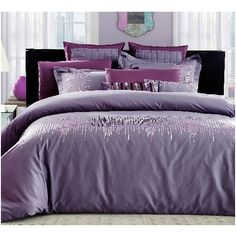 Snuggle up with this 7-piece queen size bed set featuring Egyptian cotton. This purple sequin set will add some sparkle to your bedroom that gives an alluring look and inviting feel.