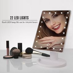 1pc 8 Led Lights Lamps Makeup Mirror Lady Make Up Cosmetic Folding Portable Compact Pocket Led Mirror For Girls Women Shrink-Proof Beauty & Health