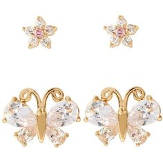 Betsey Johnson Glitz Flower and Butterfly Earring Duo ($35) ❤ liked on Polyvore featuring jewelry, earrings, gold, flower earrings, gold tone charms, butterfly charm, yellow gold earrings and yellow gold charms
