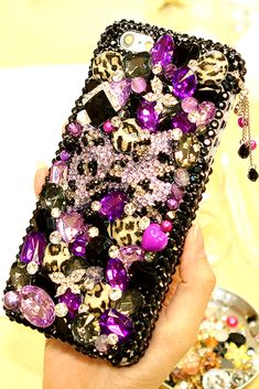 Purple Leopard Bow Design  iPhone 6 6S Plus bling case phone cover luxury style crystals accessories for women's fashion
