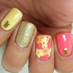 peach coral & yellow floral nails by rubyrominaa