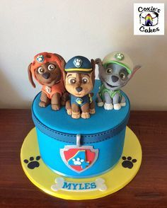 Paw Patrol cake with Chase, Rocky and Zuma handmade toppers.
