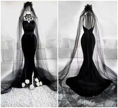 Halloween Velvet Gown by Askasu Goth Wedding Dresses, Black Wedding Gowns, Gothic Wedding, Prom Dresses, Dresses Uk, Halloween Wedding Dresses, Halloween Weddings, Black Weddings, Geek Wedding