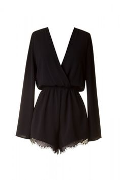 Long sleeve V neck romper with lace detailing at the bottom and lining Width:12''inches Length: 29''inches Leg Length: 13''inches