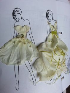 Printed mannequins and tried flower petal and ribbon dresses!