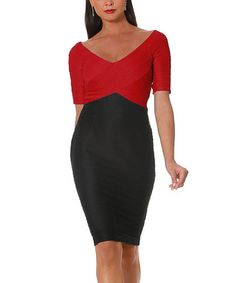 Look what I found on #zulily! Black & Red Color Block Ottoman Dress by NUE by Shani #zulilyfinds