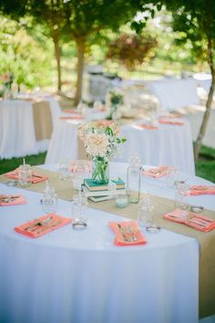 This is a good idea of what the tables will look like with the burlap runner