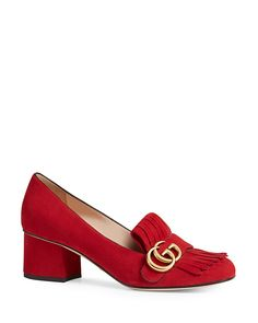 I love my Gucci Marmont GG Suede Block-Heel Pumps Red Loafers, Heeled Loafers, Loafer Shoes, Gucci Loafers, Flats, Red Shoes, Me Too Shoes, Silver Shoes, Versace