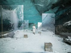 Filmed deep in the heart of spectacular glacial caves, a new film installation by British artist Isaac Julien, in collaboration with Rolls-Royce Motor Cars, will debut during the Venice Biennale. Set Design Theatre, Stage Design, Voyage New York, Land Art, Venice Biennale, Exhibition Display, Stage Set, Scenic Design, Light Art