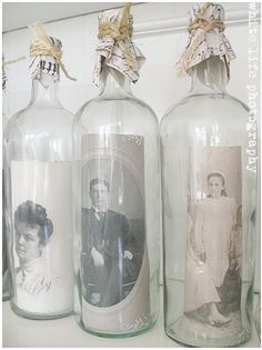 great way to display old pics (Empty Bottle Display)