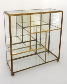 Vntg Brass Glass Mirror Table-top Wall Curio Small Display Cabinet Case Shelf