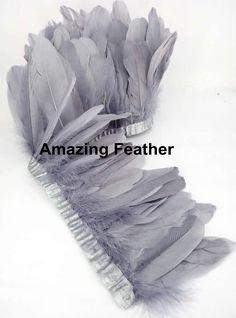 Livraison gratuite 13 - 18 cm 10 metro/lote Grey Goose plume versions oies rubans de plumes plume d'oie franges 2 mètre/pc(China (Mainland))