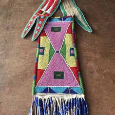 Pipebag from the beadwork collection of Bethany Yellowtail's great grandmother, Irene Not-Afriad Yellowtail.