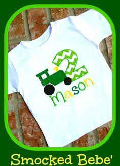Birthdays By Smocked Bebe Love This Tractor Birthday Applique Shirt 1st Shirts