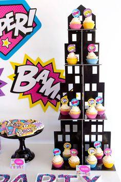 Skyscraper Cupcake Tower With Superhero Girl Cupcake Toppers and Superhero Cookies
