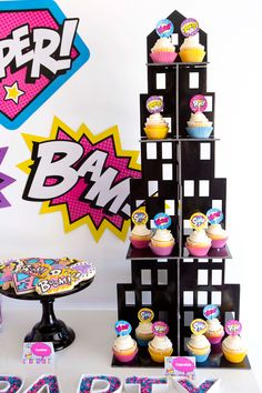 Superhero Girl Birthday Party Ideas - Superhero Cupcake Ideas