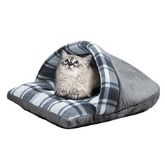 Cozy Slipper Plaid Pet Bed, Grey -- Click image for more details.