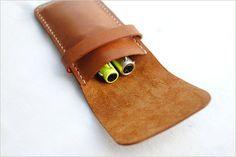 Handmade Handstitch Leather pen holder pen case pen by FeltSJie