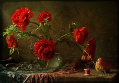 Bread feeds the body indeed, but flowers feed the soul. ~ The Koran Still Life 2, Still Life Photos, Poppy Bouquet, Still Life Flowers, Medvedeva, Still Life Photography, Carnations, House Plants, Red Roses