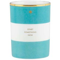 kate spade new york Start Something New Scented Candle ($61) ❤ liked on Polyvore featuring home, home decor, candles & candleholders, blue, striped candles, wax candles, fragrance candles, scented wax candles and blue home decor