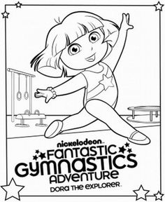 gymnastics party dora the explorer gymnastics coloring page