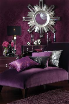 Purple and silver flair!!! Bebe'!!! Love this elegant bedroom done in purple and silver!!!