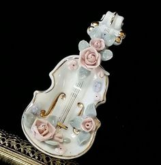 Lefton Trinket Dish Porcelain Bisque Violin by OldGLoriEstateSale