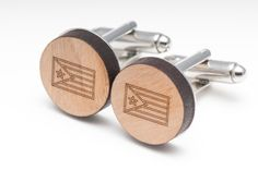 Puerto Rican Flag Wood Cufflinks
