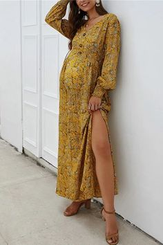 The maternity sexy v neck  women's  printed  split dress  with  long  loose sleeve  and  high waist is  nice and easy to pregnant women.  #maternitydressescasual #pregnancystyle #pregnancystylesummer #pregnancyoutfits #summerpregnancyoutfits #breastfeedingdress Prom Dresses Long Modest, Nice Dresses, Maxi Dresses, Designer Cocktail Dress, White Cocktail Dress, Floral Maternity Dresses, Breastfeeding Dress, Casual Dress Outfits, Lace Dress With Sleeves