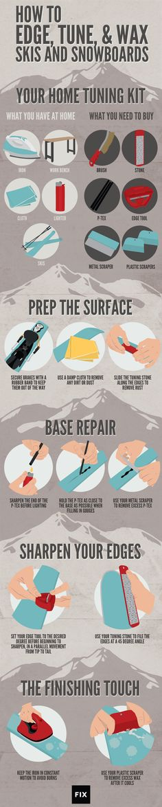 Learn how to wax, tune, and edge your own skis and snowboards at home! #Skiing