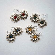 Magatama Miyuki Silver Seed Beads Earring Daisy by TipTopTrinkets, $10.00