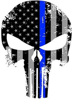 Tattered 5x4 Inch Subdued Us Flag Punisher Skull Reflective Decal with Thin Blue Line