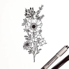 This girl's style of floral drawings/tattoos is gorgeous