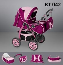 Baby Pram Stroller Buggy Pushchair 2in1 Available in 91 colours Made in EU BT042